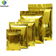 Various Sizes 100 X Glossy Gold Zipper Top Flat Heat Sealable Aluminum Mylar Package Zip lock Pouches Storage Bag(China)