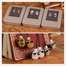 3.5MM Metal In-ear skull earphone earbuds for MP3/MP4 for phone DJ candy earphone with retailbox(China)