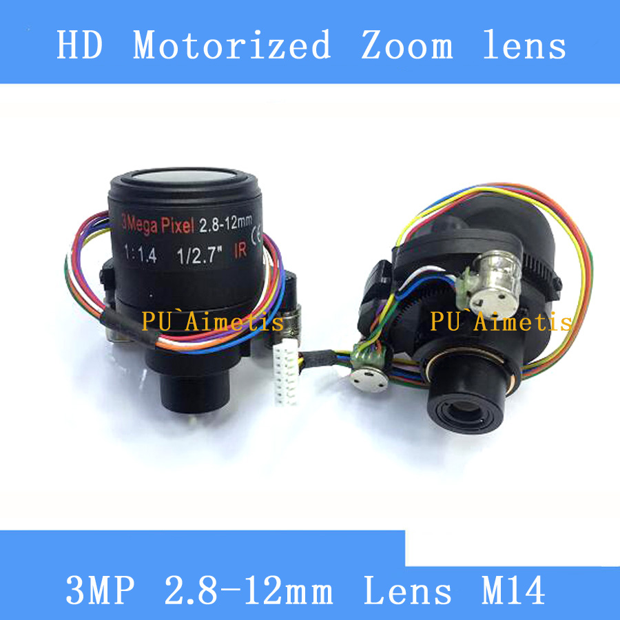 PU`Aimetis Motorized Zoom 3MP HD 1/2.72.8-12mm Varifocal F1.4 D14 Mount DC Iris Auto Focus IR CCTV Security Camera Lens <br>
