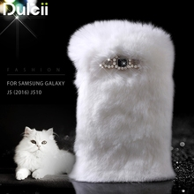 Dulcii Winter Soft for Galaxy J 5 (2016) Cover Warm Rabbit Fur Phone Case Diamante TPU Case for Samsung Galaxy J5 (2016) J510(China)