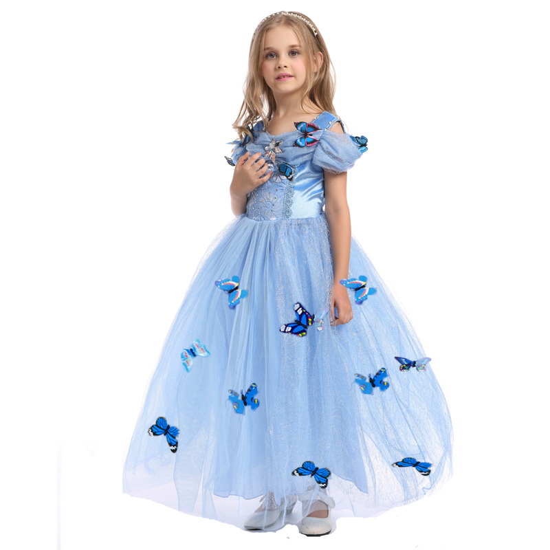 Hot Sale New Cinderella Dress Girl blue Princess Costume Party girl ball gown Dress Kids Girl vestiodo Dress diamond 4-12T<br>
