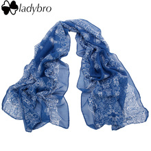 Ladybro 160*70cm Spring Autumn High quality Chiffon Scarf For Women Blue and White Porcelain Style Thin Silk Scarf Female Shawl