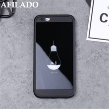 Fashion Light Bulb Black Soft TPU Coque Case for IPhone 7 Phone Case Luxury Silicone Mirror Slim Housing Back Cover for IPhone 7