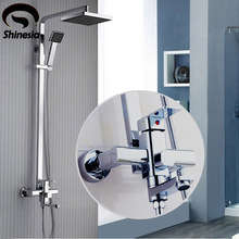 New Modern  Chrome Finish Rain Shower Set Faucet ABS Shower Head W/ ABS Hand Shower Spray Mixer Tap Wall Mounted