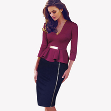 Spring Autumn Sexy Low Cut V Neck Women Business Dresses Formal Bodycon Office Sequined Side Zipper Pencil Business Dress B241