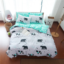 Cartoon lovely polar bear linens 3/4pcs bedding sets high end cotton Twin/Queen/King size duvet cover set sheets sets(China)