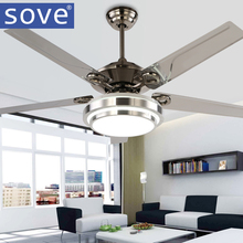 Modern LED Ceiling Fans With Lights Bedroom Dining Room Stainless Steel Blade Ceiling Light Fan With Remote Control 220 Volt Fan(China)