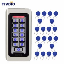 TIVDIO Keypad RFID Access Control System Proximity Card Standalone 2000 Users Door Access Control+20pcs RFID Cards F9501D(China)
