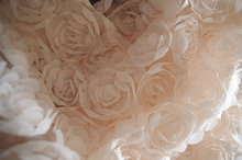 nude Rosette chiffon Fabric, Baby Photography Prop Backdrop, 3D rose fabric, chic shabby rosette fabric, 1 yard, SDF029(China)