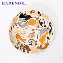 EARENDIL 1pc Cat's Sky Hand Painted Plate Dish Nordic Style Ceramic Tableware Cartoon Dinnerware Cake Plate(China)