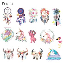 Prajna Various Of Style Unicorn Bull Dreamcatcher Heat Transfers Cheap Cartoon Clothes Stickers Iron On Patches For Clothing DIY(China)