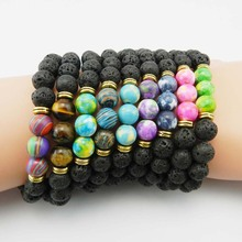 New Design High Quality Black Lava Stone Jewelry Sea Sediment Imperial Beads Stretch Energy Yoga Gift Bracelets
