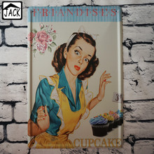 Friandises Cupcake Advertising Metal Poster Cake Painting Art Decor Retro Tin Sign 20*30 CM Vintage Plaques Cafe Kitchen Decor(China)