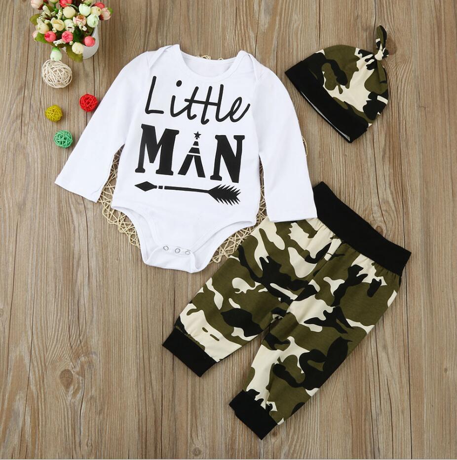 3Pcs Newborn Baby Kids Boys Romper Camouflage Print Pant Hat Clothes Outfits Set