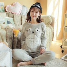 Women Pajama Sets 2017 New listing Coral Fleece Pajamas Women Clothing Thickening Paragraph Warm Thick Flannel Set(China)