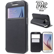 For Samsung Galaxy S6 Case ROAR KOREA Noble Window View Wallet Flip Leather Phone Cover For Samsung S6 G920 with Retail Package(China)