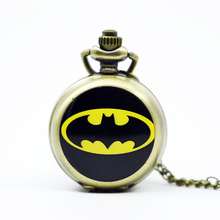 PS580 Retro Vintage Bronze Steampunk Batman Pocket Watch Necklace Mens Jewelry Gift for Men Woman