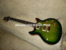Free Shipping Green Burst Tiger Stripe Santana Electric Guitar Wholesale guitars(China)