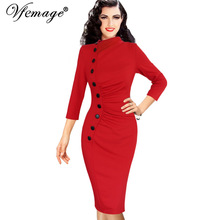 Vfemage Womens Autumn Winter Vintage Pinup Retro Rockabilly 3/4 Sleeve Button Ruched Pleated Work Party Wiggle Sheath Dress 8430(China)