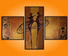 Hand Painted Abstract Dance Oil Painting Canvas Home Decor Artwork Wall Art Graffiti Figure Acrylic Paintings 3 Panel Pictures