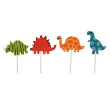 24pcs/set Dinosaur Toppers Picks Cupcake Topper Baby Shower Supplies Child Kids Birthday Party Cake Baking Party Decoration