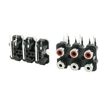 Sindax 2 Pcs 6 RCA PCB Mount Female Outlet Jack Connector RCA Socket Black