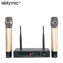 Sound Effect Adjust !! 50M Distance !! Dual Way Digital UHF Wireless Microphone with 2 Gold Metal Handhelds for KTV Talk show