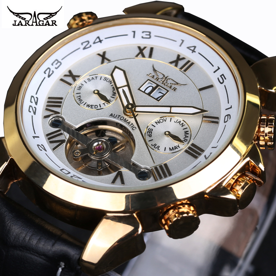 2018 Jaragar Mens Famous Mens Watches Brand Day/Week Tourbillon Auto Mechanical Watches Wristwatch Gift Box Free Ship<br>