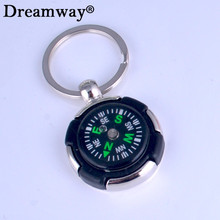 tyre compass key chain round tire magnetic compass keychain trip travel necessary tool multifunction accessory free shipping