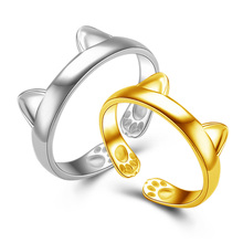 Fashion Women Rings Lovely Cat Ear Open Design Plated Gold Silver Ring Young Ladies Girls Adjustable Jewelry Accessories KQS8(China)