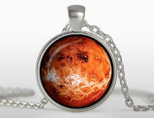 2017 New Trendy Venus Pendant Silver Plated Jewelry Space Planet Necklace Galaxy Picture Pendants Glass Photo Necklaces