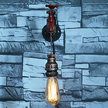 Hot American Vintage Industrial Water Pipe Wall Lamp Lights Bar Restaurant E27 Water Pipe Bookshelf Wall Light Retro Wall Sconce