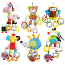 Infanty Bed Car Hanging soft Stuffed plush toys Cute Animal Monkey Owl Elephant Bear Rattles mobile with teether for baby