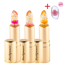 Brand Kailijumei Jelly Flower Lipstick Gold tube Makeup Magic Color  Change Moisturizer Bright Surplus Lipstick +Puff Free Gift