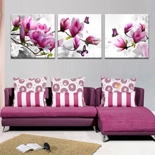 3pcs Print poster canvas Wall Art pink orchids Decoration  art oil painting Modular pictures  on the wall sitting room(no frame)