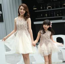 family look dress matching mother daughter dresses clothes mom and daughter dress princess wedding dress mommy and me clothes(China)