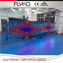 Aliexpress hot sale p9cm 1*6m 2pcs linked curtain buying cheap video led curtain(China)