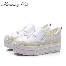 Krazing Pot genuine leather classics women platform sneaker increased casual five-star fashion girl vulcanized shoes L34