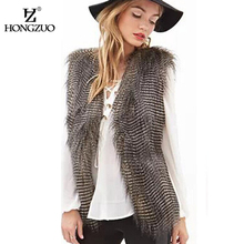 HONGZUO Women Faux Peacock Fur Vest Gilet Fashion Slim Artificial Fur Coat Long Feather Jacket Waistcoat Outwear PC008
