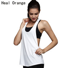 HEAL ORANGE Women Sports Shirt Breathable Sleeveless Vest Sport Jersey Cool Loose Yoga Shirts Fitness Running Top Women Gym Top