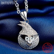 100% Sterling Silver Women Necklace Fashion Charm 925 Silver Bird Pendant Necklace Luxury Jewelry(China)