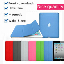 Nice hard back cover+magnetic slim pu leather case for apple ipad air 1 smart cover case flip thin ipad 5(China)