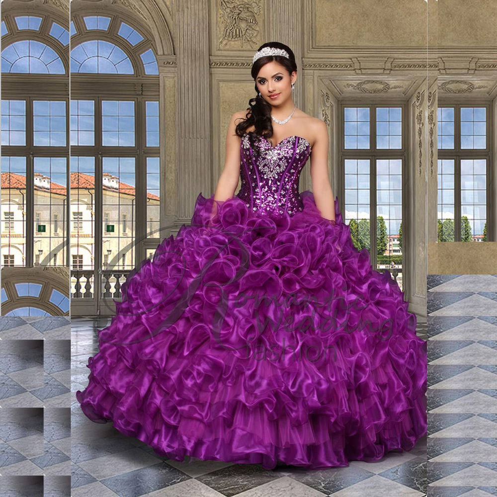 Sparkling Sweetheart Crystal Purple 2018 Ruffle Organza party prom Ball Gown Cheap Quinceanera Gown mother of the bride dresses