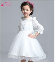 White Flower Girl Dresses 2017 Cheap Price High Collar Three Quarter Ball Gown Girl beauty pageant Dress