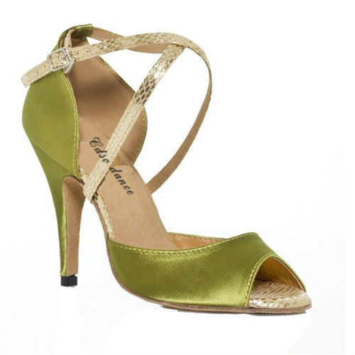 In stock  ladys ballroom/green satin latin dance shoes, women green dance shoes,8.5cm or 6cm heel shoes dance woman XC-6392<br>