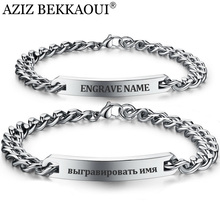 Customize Name Bracelet 316 Stainless Steel ID Bracelet Bangles Personalized Custom Logo Men Jewelry Letters Bracelets For Women(China)