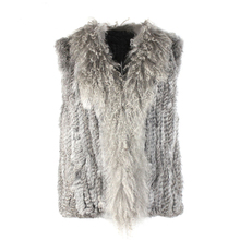 Natural Mongolia Sheep Fur Collar Patchwork Real Knitted Rabbit Fur Vest Women Gilet Waistcoat New Winter Autumn Vests Jacket