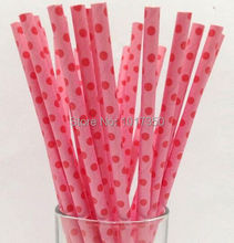 Pink & red swiss dots decorative Vintage paper Drinking straws Valentine birthday wedding event & party decoration favor 75pcs(China)