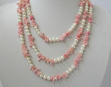 "Free shipping bjc 0001494 classic long 60"" 7mm round white freshwater pearls pink coral necklace"