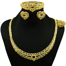 wow nice ! big African costume jewelry sets new arrival necklace set wedding fashion high quality earring bangle free shipping(China)